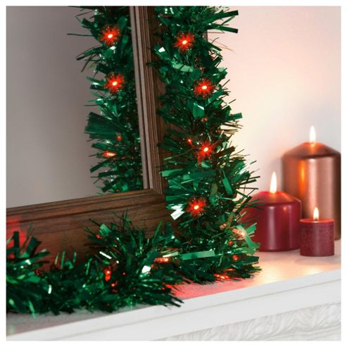 Festive Green Pre-Lit Christmas Tinsel, 2m