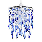 Jewel Ceiling Pendant Light Shade in Blue & Clear