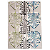 Tesco Linear Leaf Rug Soft Teal/Olive 120X170Cm