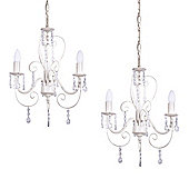 Pair of Lille Three Way Ceiling Lights in Distressed White