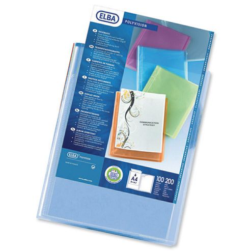 Elba Polyvision Display Book Polypropylene 20 Clear Pockets A4 Blue Ref 100206087