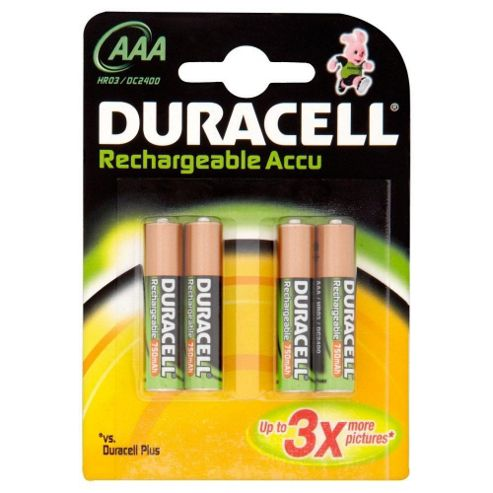 Buy Duracell Rechargeable Accu HR03 750 Mah AAA Batteries from our Batteries range - Tesco