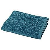 Teal Geometric Pattern Bath Towel