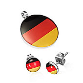 Urban Male Stainless Steel Flag of Germany Pendant & Earring Set For Men