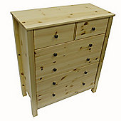 Solid Wood - 6 Drawer Storage Bedside Cabinet - Natural