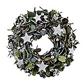 Traditional Green Laurel Leaf Christmas Wreath with Stars