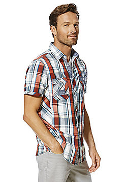 F&F Checked Contemporary Fit Short Sleeve Shirt - Red