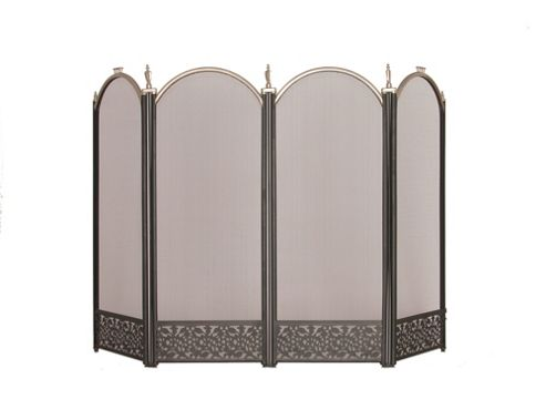 Crannog Four Panel Fire Screen - Silver and Black