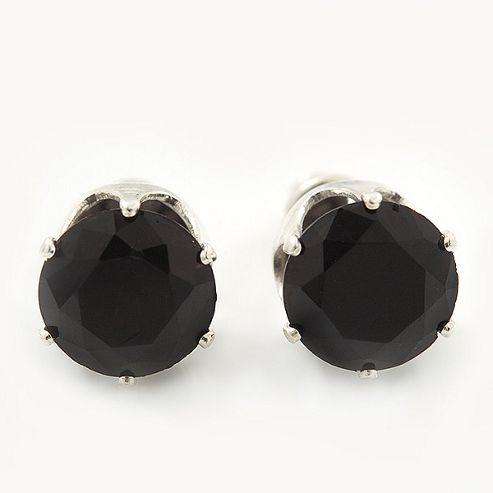 Classic Black Crystal Round Cut Stud Earrings In Silver Plating - 8mm Diameter