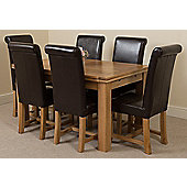 Richmond Solid Oak Extending 140 - 220 cm Dining Table with 6 Brown Washington Leather Dining Chairs