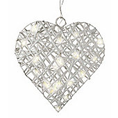 Parlane Hanging Rattan Heart With 20 Lights - Batteries Required