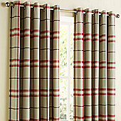 Homescapes Red Tartan Check Lined Eyelet Curtain Pair 90x72""