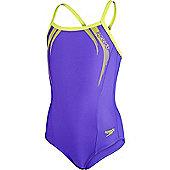Speedo Girls Sports Logo Thinstrap Muscleback Swimsuit - Purple