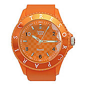 Tresor Paris Watch 018795 - Stainless Steel Bezel - Silicone Strap - Diamond Set Dial - 44mm - Orange