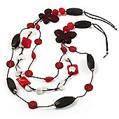 3-Strand Butterfly Cord Necklace (Red, Burgundy, White & Brown) - 90cm