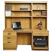 Enduro Home Office Desk / Workstation with Pedestal, Printer Storage and Inbuilt Bookshelves - Warm Oak