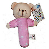 First Steps Teddy Bear With Rattle Pink