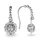 Blossom Copenhagen Rhodium Plated Sterling Silver White Cubic Zirconia Floral Ball Drop Earrings