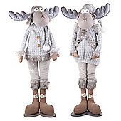 Kaleb & Kane the Large 88cm Standing Grey Fabric Christmas Reindeer