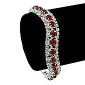 Clear/ Ruby Red Coloured Swarovski Crystal Curved Bracelet In Rhodium Plated Metal - 17cm Length