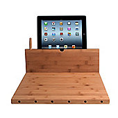 Bamboo Cutting Board with Stand and Knife Storage for Tablets