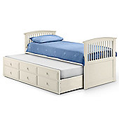 All Home Horatio Captain's Single Storage Bed Frame with Trundle - Stone White