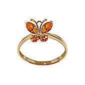 QP Jewellers 0.60ct Citrine Butterfly Ring in 14K Gold