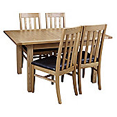 Origin Red Chesterfield 5 Piece Ash Dining Table Set