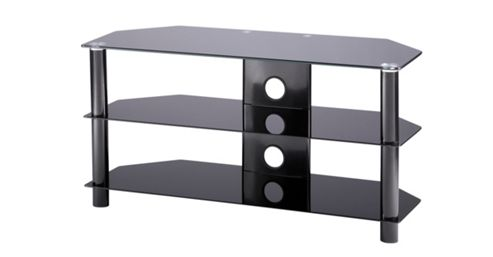 Alphason Essential, 3 Shelf Black Tv Stand For Tv'S Up To 42