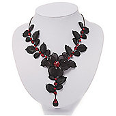 Stunning Y-Shape Mesh Black Floral Necklace With Ruby Red Swarovski Crystals - 34cm Length (7cm extension)