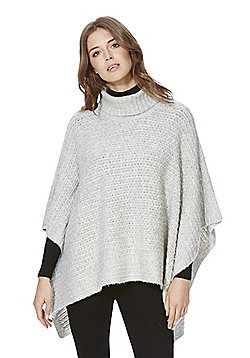 F&F Twisted Yarn Cowl Neck Poncho - Grey
