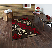 Oriental Carpets & Rugs Modena Brown/Red Budget Rug - 55 cm x 90 cm (1 ft 9 in x 2 ft 11 in)