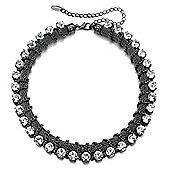Fiorelli Gunmetal Chain and Crystal Stud Necklace
