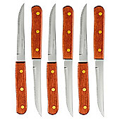 Amefa set of 6 wooden handle steak knives