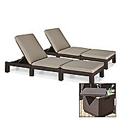 Pair of Allibert Daytona Sunloungers with Ice Cube Table - Brown