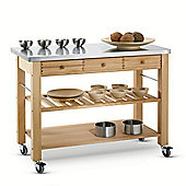 Eddingtons Lambourn Three Drawer Kitchen Trolley with Stainless Steel Top