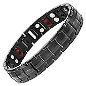 Willis Judd Mens Black Titanium Magnetic Bracelet featuring double row four element magnets