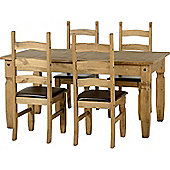 Corona Extending Dining Set (1+4) with Expresso Brown PU Seat Pads