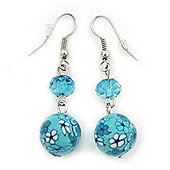 Light Blue Acrylic Drop Earrings In Silver Plating - 4.5cm Length