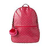 F&F Glitter Heart Print Rucksack with Pom Pom Charm
