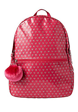 F&F Glitter Heart Print Rucksack with Pom Pom Charm One Size Pink