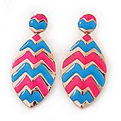 Pink, Light Blue Enamel 'Leaf' Drop Earrings In Gold Plating - 60mm Length