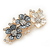 Pale Blue/White Enamel Diamante Floral Brooch In Gold Plating - 6cm Length
