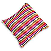 Homescapes Pink & Purple Candy Stripe Chenille Cushion, 40 x 40 cm
