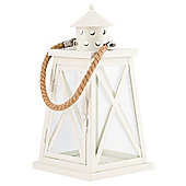 Metal And Glass x Lantern With Rope Handle, Cream