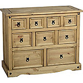 Corona Mexican 4+3+2 (9) Drawer Merchant Chest Distressed Waxed Pine