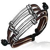 Urban Male Men's Surfer Style Leather & Cord Multi Strand Bracelet
