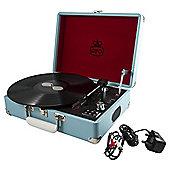 GPO Attache Suitcase Turntable, Blue
