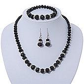 Black Glass Bead Necklace, Flex Bracelet & Drop Earrings Set With Diamante Rings - 38cm Length/ 6cm Extension