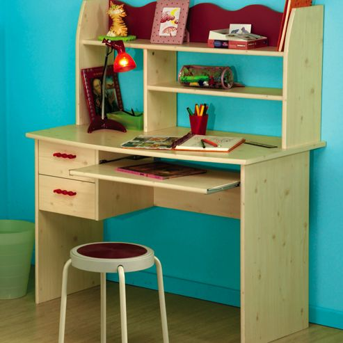 Parisot Lily Desk in White Stained Pine / Raspberry